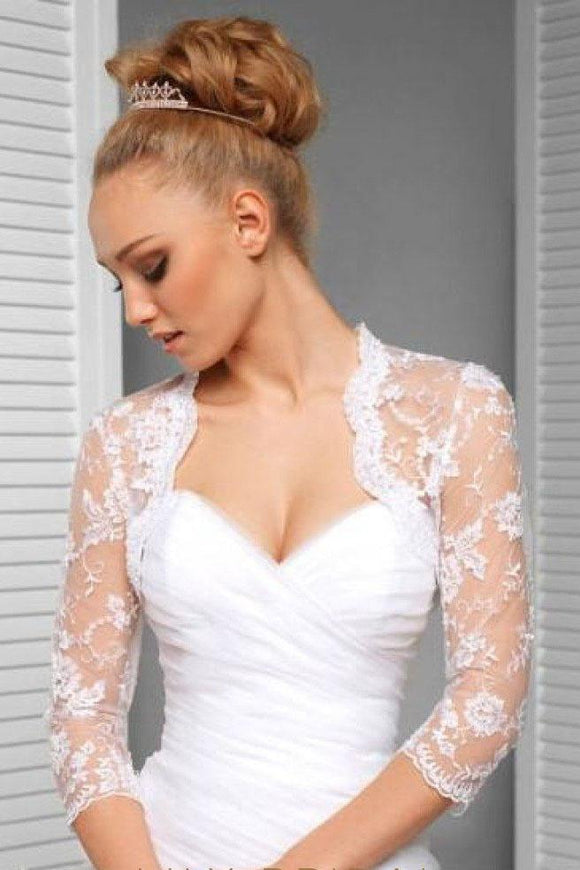 3/4 Sleeve Exquisite Lace Applique Bridal Jacket Scalloped Top Neck, Wedding Jacket PFSW0006