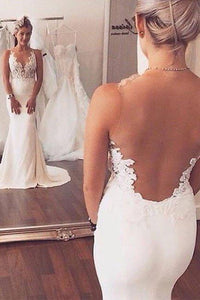 Sexy Mermaid Lace Sheer Back Long Ivory Beach/Coast Wedding Dress PFW0234