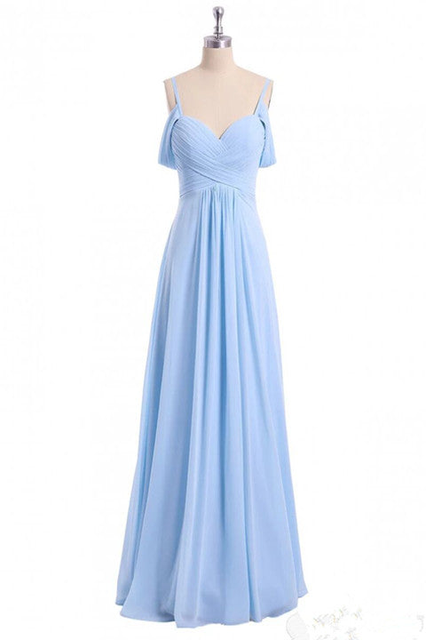 Chiffon Sky Blue Long Bridesmaid Dress, Off Shoulder Spaghetti Prom Dress PFP1712