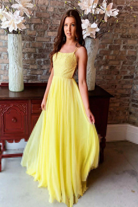 Flowy Yellow Chiffon Long Prom Gown Sexy Backless Evening Dresses PFP1710