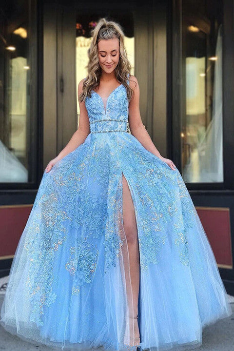 Light Blue Beaded Appliques Prom Dresses With Slit, Backless Party Gown PFP1711