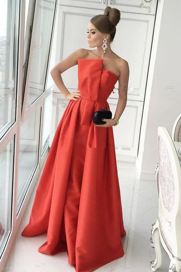 Simple A Line Strapless Long Satin Prom Dress Formal Evening Dresses PFP1720