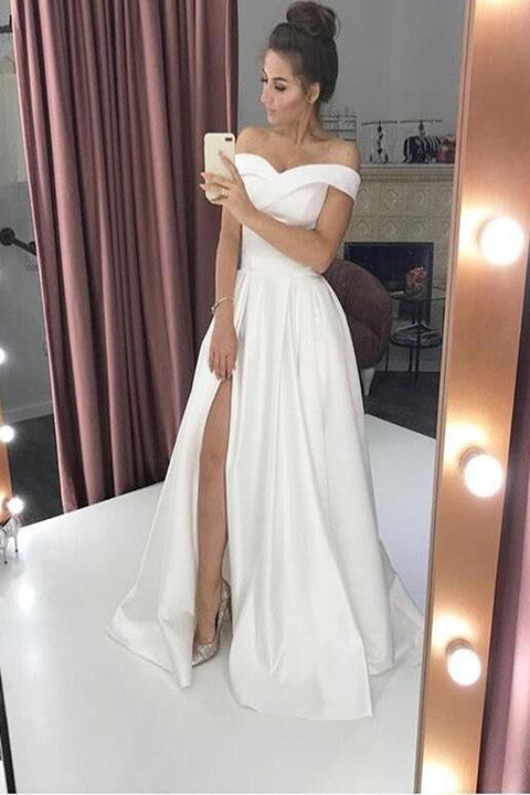 Simple Off-The-Shoulder White A-Line Wedding Dress With Slit PFP1753
