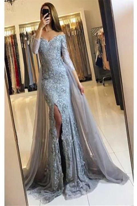 Off-The-Shoulder Mermaid Lace Appliques Split Overskirt Prom Dress With Long Sleeves PFP1754