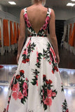 Sexy A-line V-neck Spring Floral Printed Long Prom Dress With Pockets PFP1755