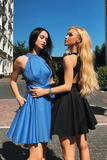 Cute A Line Open Back Satin Blue Short Homecoming Dresses with Pockets PFH0040