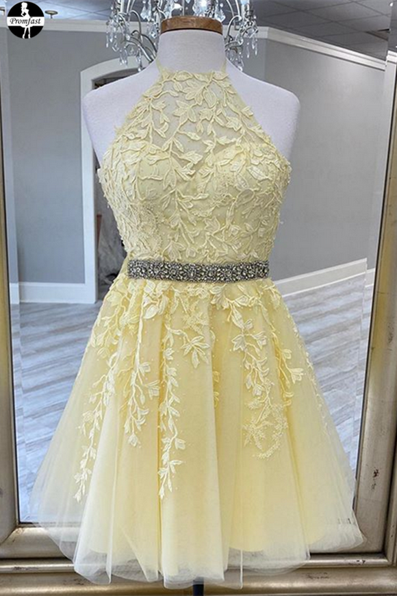 Promfast Yellow new 2021 homecoming dress, party dress, senior school girl dresses PFH0307