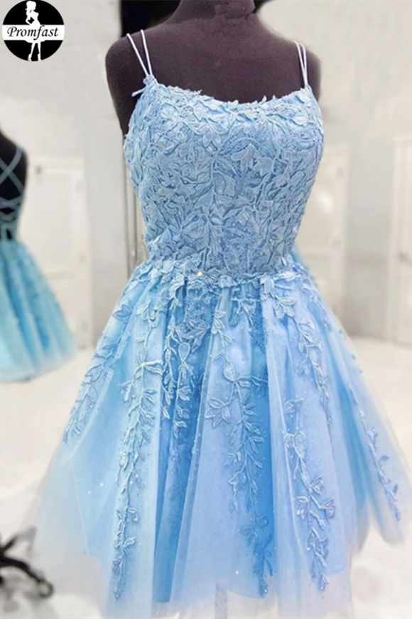 Promfast new 2021 Backless Short Light Blue Lace Prom Dresses, Homecoming dress, Formal Graduation Dress PFH0308