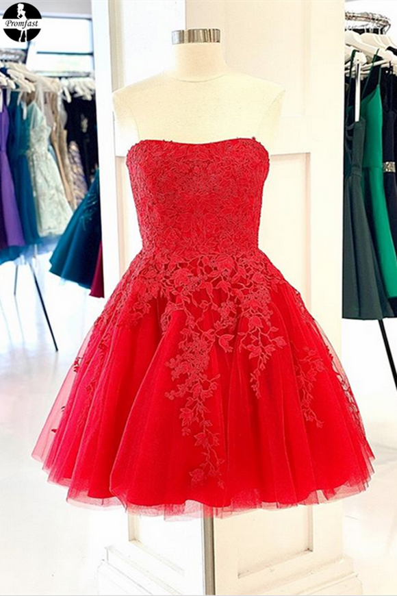 Red New 2021 Promfast Short Prom Dresses Homecoming Dresses online PFH0310