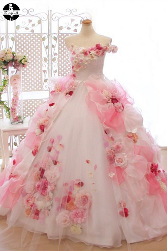Promfast Lace Pink 3D Flowers, Ball Gown, Organza Beaded O Neck wedding dress PFW0484