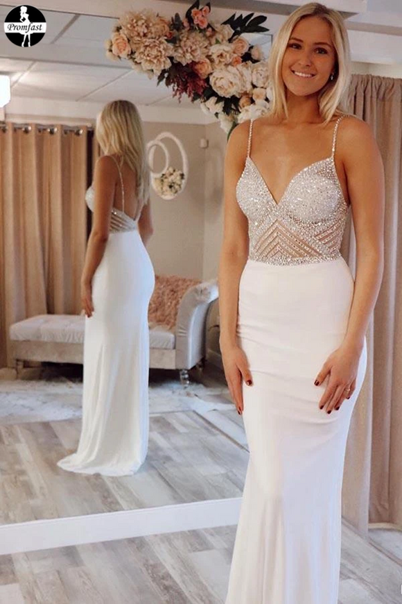 Promfast Cheap Mermaid Ivory V-Neck Straps Prom Dresses Evening Dresses for sale PFP1944