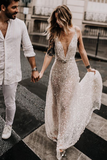 Promfast 2021 Sparkle Beach Wedding Dresses Sexy Open Wedding Gown for Sale PFW0487