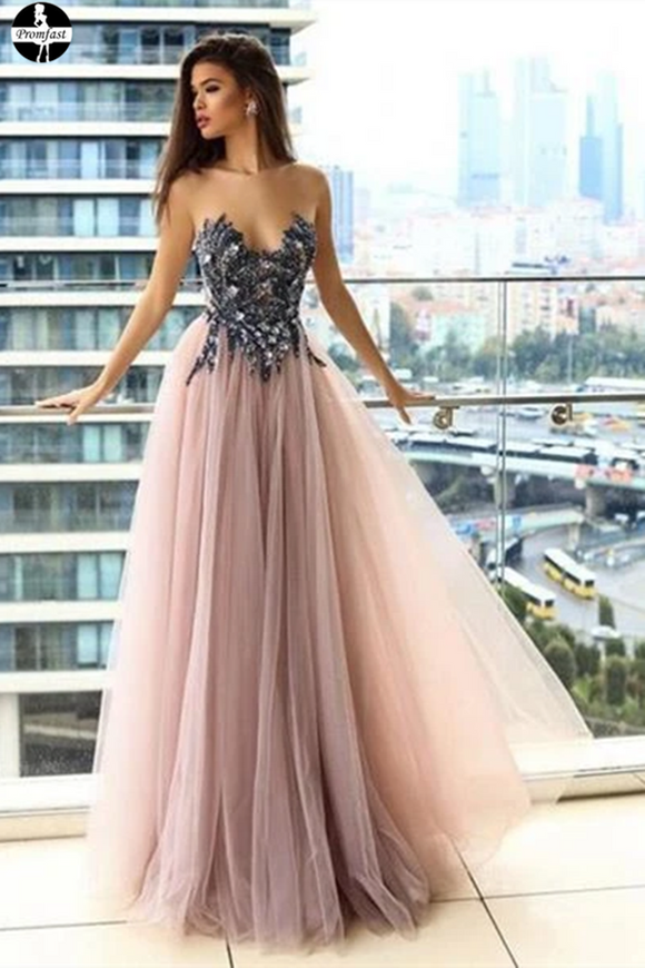 Promfast A line Long Tulle Fancy Strapless Unique Prom Dress for Sale PFP1947