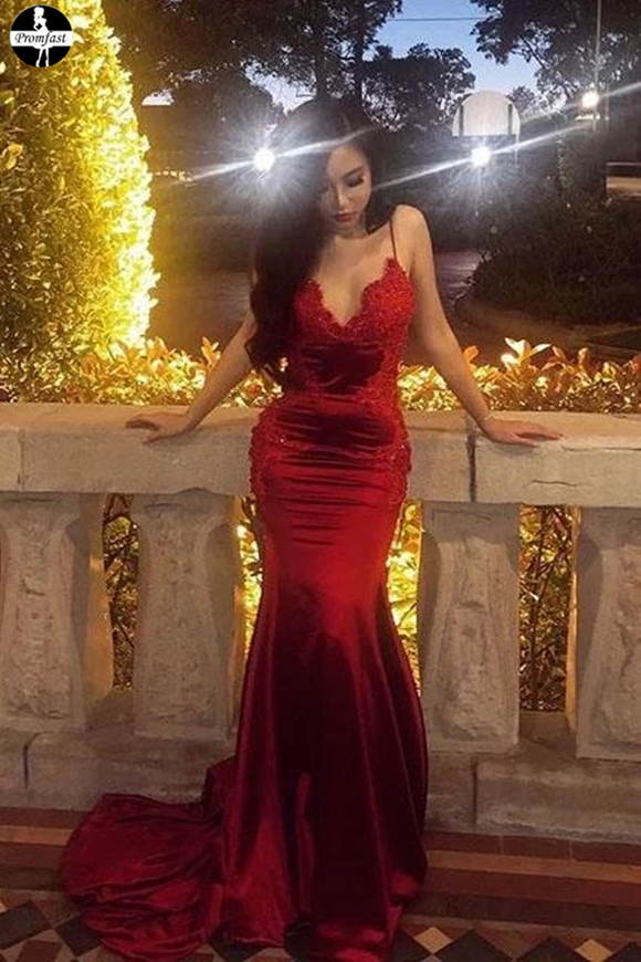 Promfast Appliques Chic Red Spaghetti Straps Mermaid V Neck Prom Dresses for Sale PFP1948
