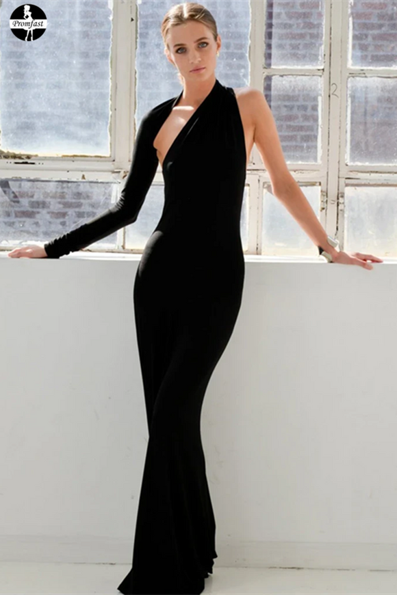 Promfast Long Mermaid Chic One Shoulder Black Prom Dresses Evening Dress Sale PFP1949