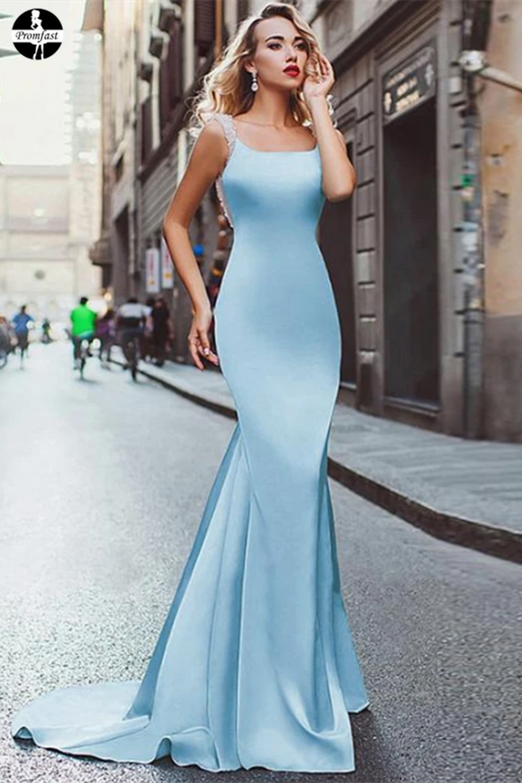 Promfast Light Sky Blue Mermaid Prom Dresses Straps Modest Long Prom Dress Evening Dresses PFP1950