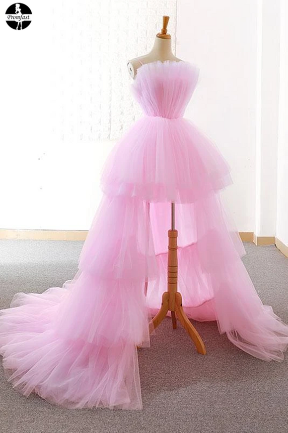 Promfast A-line Pink High Low Prom Dress Tulle Formal Dresses Evening Gowns for Sale PFP1951