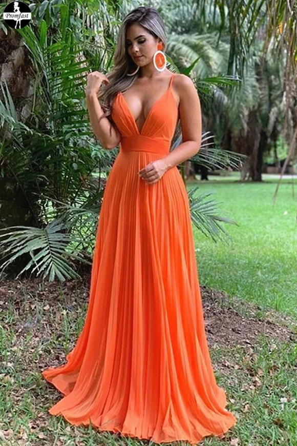 Promfast A Line Spaghetti Straps Orange Prom Dress, Chiffon Sexy Deep V Neck Prom Dresses PFP1953