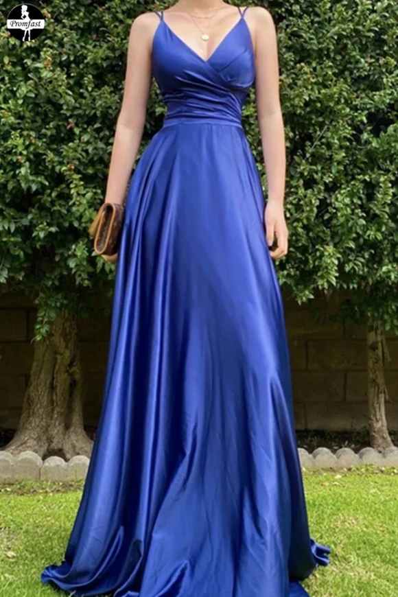 Promfast Satin Royal Blue V neck Prom Dresses, A Line Lace up Evening Dresses for sale PFP1954