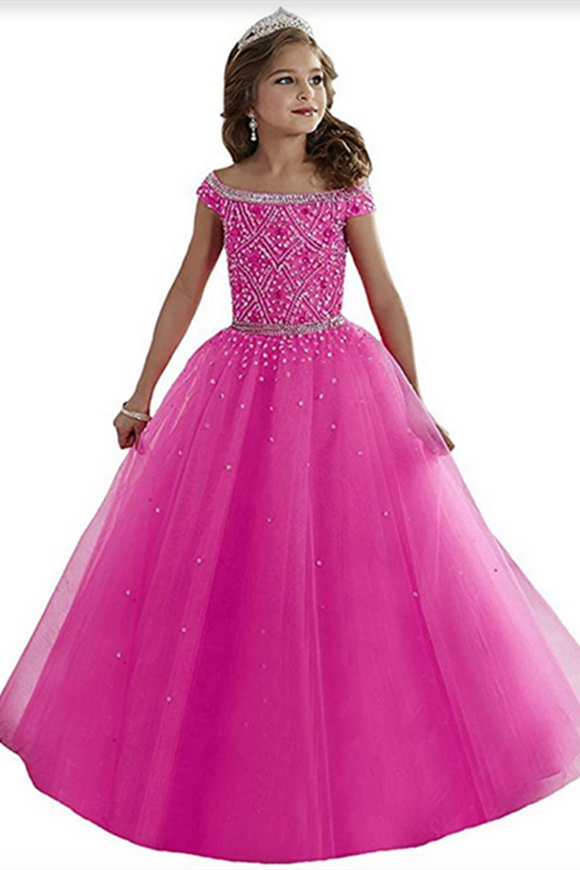 Promfast Little Girls Princess Birthday Party Dress, Cute Puffy Beaded Kids Quinceanera Dress PFF0003