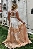 Promfast Cheap Princess Party Dress, Two Piece Long Prom Dress with Open Back for Sale PFP1964
