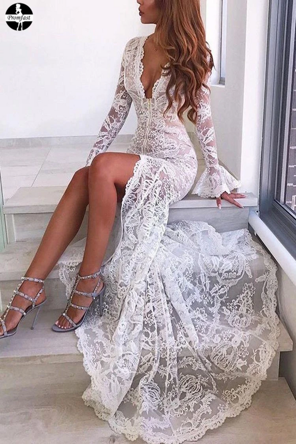 Promfast Long Sleeve Trumpet Mermaid Deep V Wedding Dress With Lace Sexy Wedding Dress PFW0503