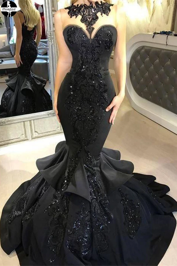 Promfast Mermaid Prom Dresses Scoop Black Beading Long Prom Dress for Sale PFP1966