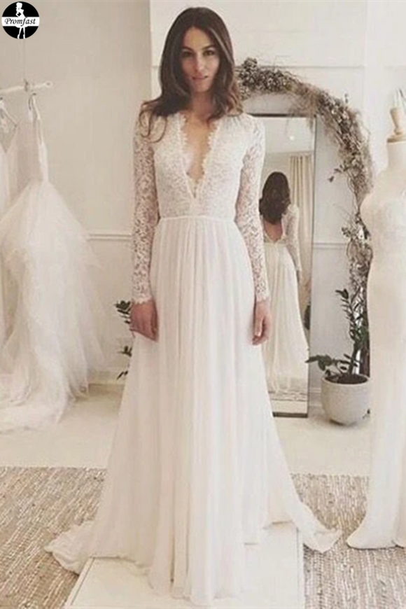 Promfast Chic A-line Wedding Dresses Long Sleeve V neck Romantic Wedding Dress With Lace PFW0529