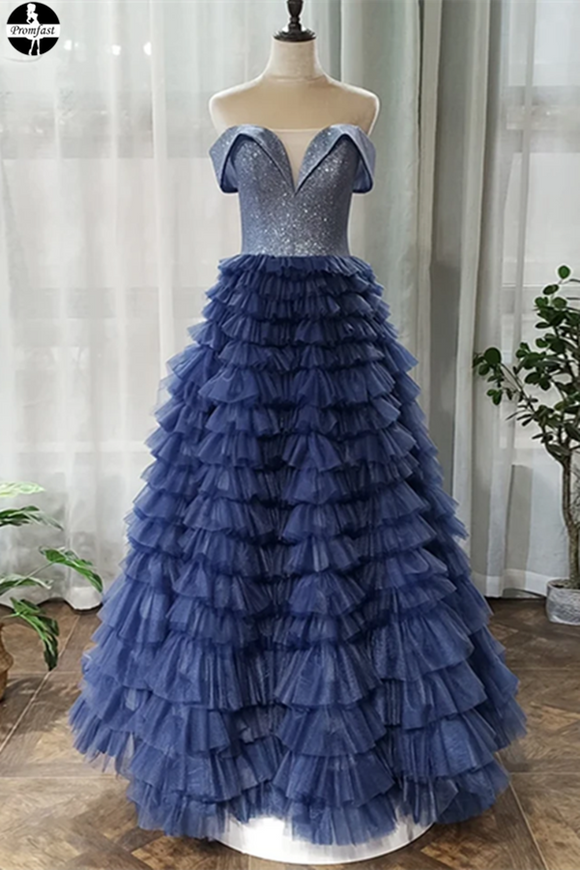Promfast Off the Shoulder Navy Blue Tulle Ruffles A Line Long Prom Dress PFP1976