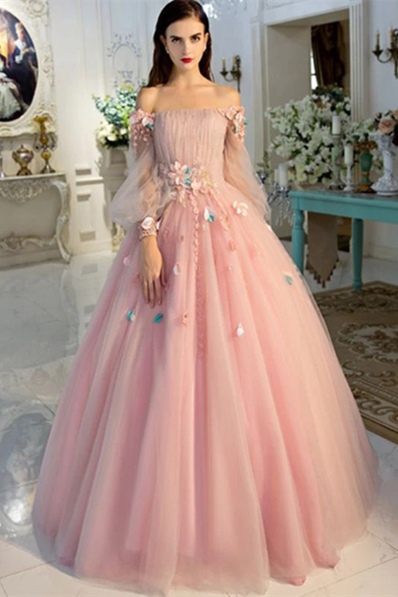 Promfast Long Sleeve Prom Dresses Pearl Pink Ball Gown Long Floral Fairy Prom Dress PFP1977