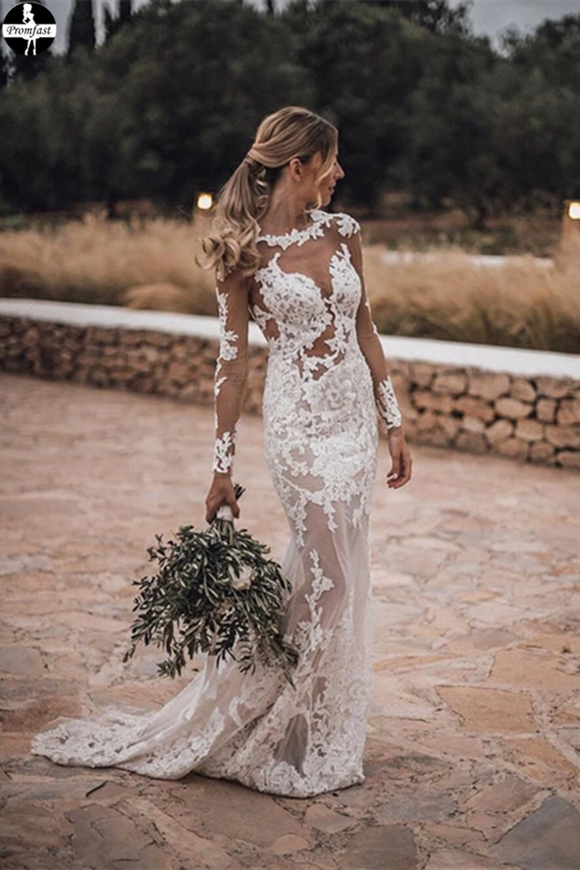 Promfast Stunning Lace Appliques See Though Mermaid/Turmpet Wedding Dress Backless Rustic Wedding with Sleeves Gowns PFW0535