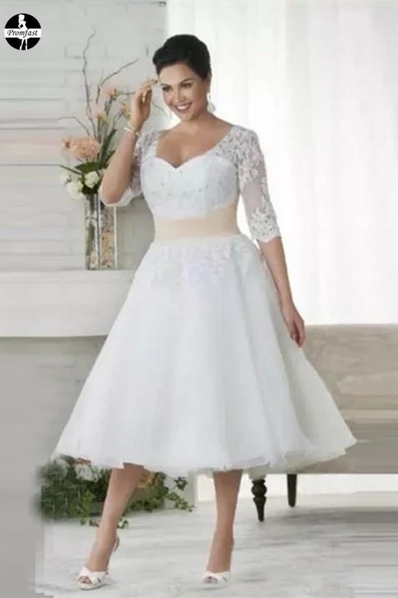 Promfast Chic Tea Length Wedding Dresses A-line Half Sleeve V neck Lace Wedding Dress PFM0017