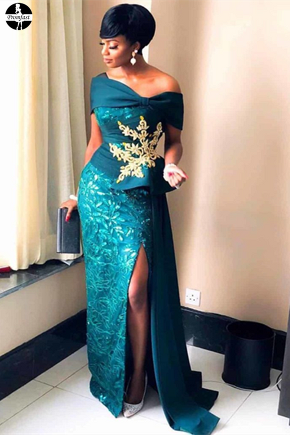Promfast Beautiful Green Lace Long Prom Dresses, African Formal Dresses PFP1985