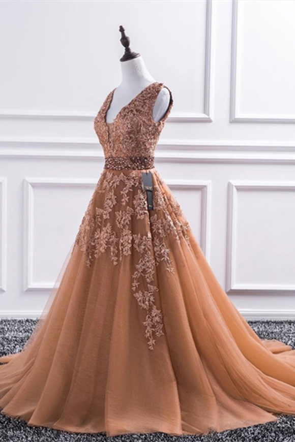 Promfast Champagne V Neck Lace Long Prom Dresses, Lace Formal Dresses, Evening Dress PFP1992