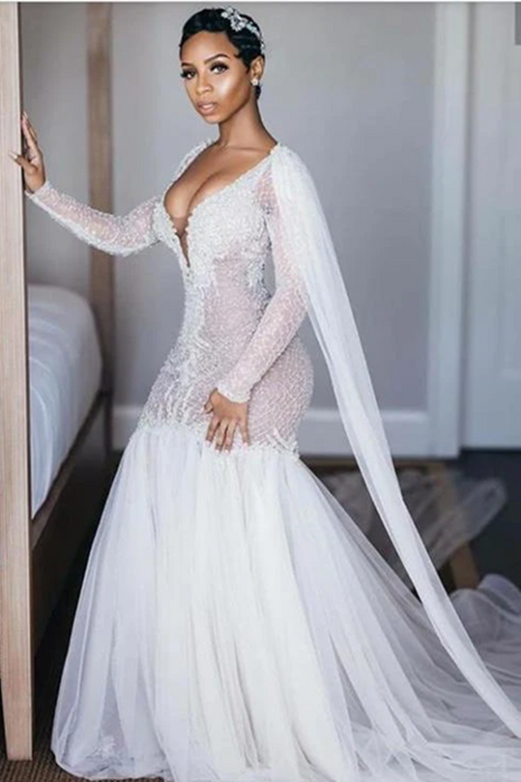 Promfast Sparkly Long Sleeves Wedding Dresses Romantic Beading Mermaid Bridal Gown Wedding Gown PFW0550