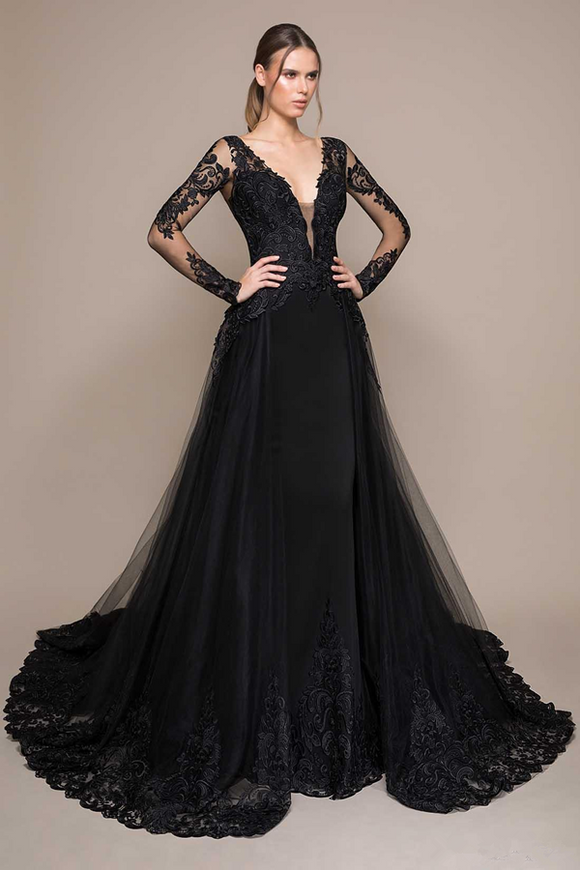 Promfast Black Evening Dresses, Deep V Neck Lace Appliqued Sweep Train Long Sleeve Prom Dress PFP2000