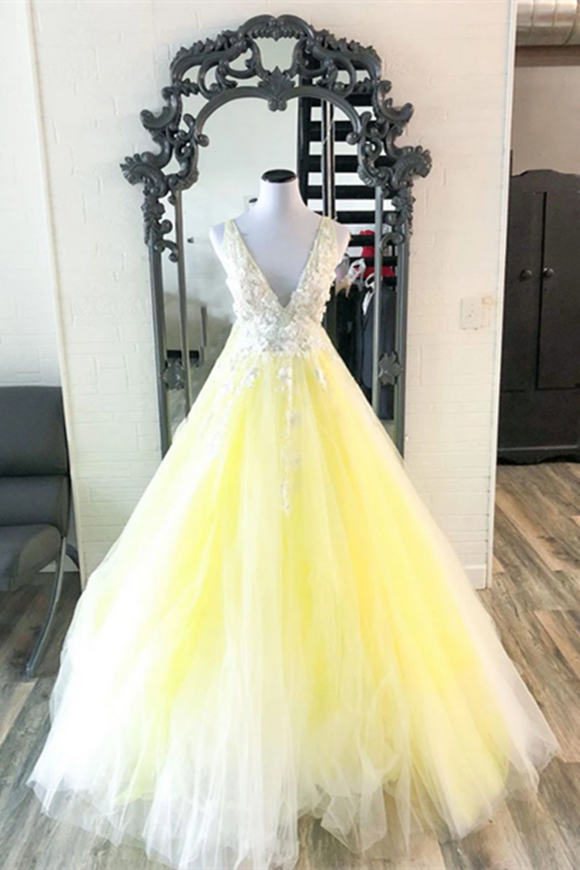 Promfast Yellow V Neck Tulle Lace Long Prom Dress Yellow Formal Dress PFP2008