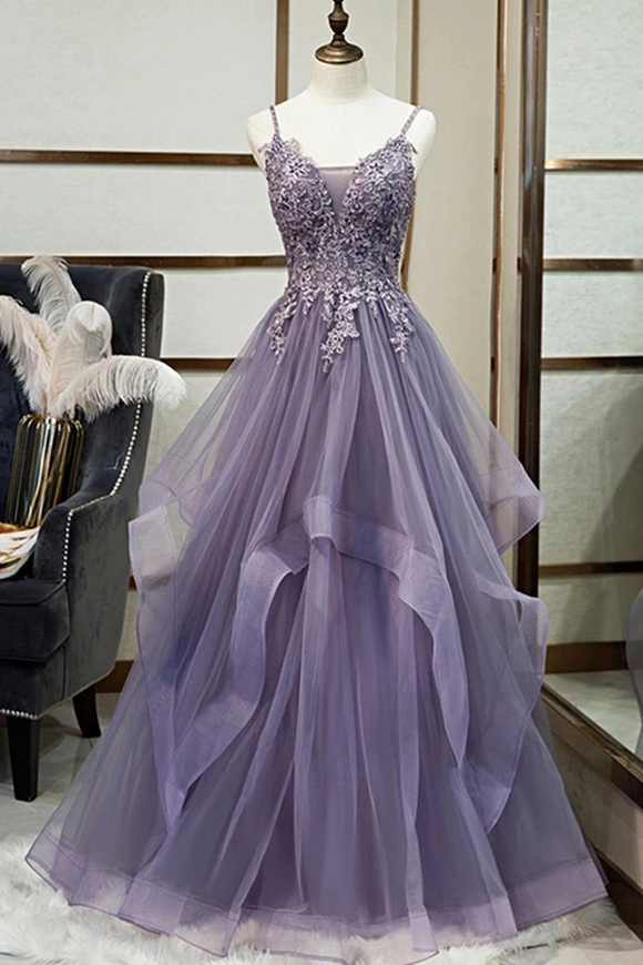 Promfast A line V neck Purple Tulle Spaghetti Straps Prom Dress With Lace Appliques PFP2010