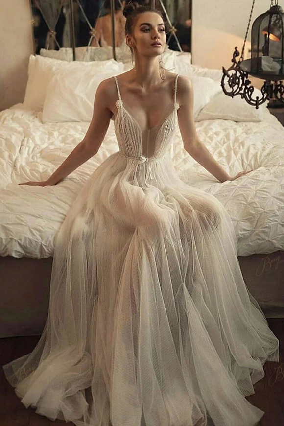 Promfast Beaded Tulle Skirt Spaghetti Straps Long Wedding Gown Beach A line Illusion Women Bridal Dress PFW0560
