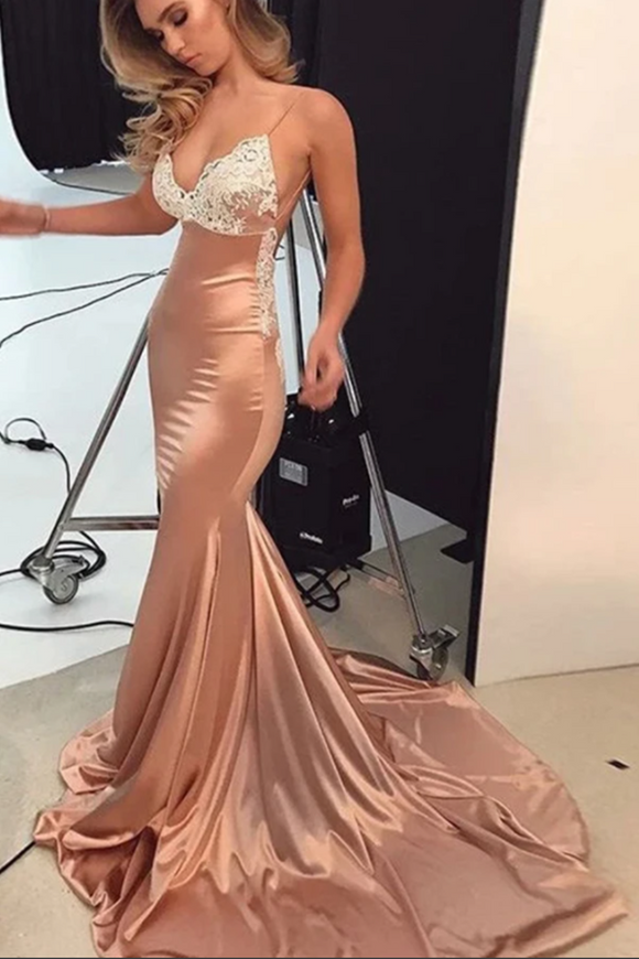 Promfast Sexy Mermaid Open Back Spaghetti Straps Prom Dresses With Train PFP2030