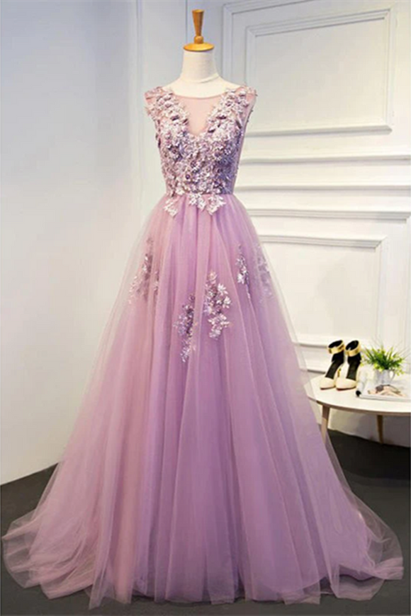 Promfast Chic Prom Dresses A line Scoop Short Train Lilac Prom Dress Evening Dress PFP2031