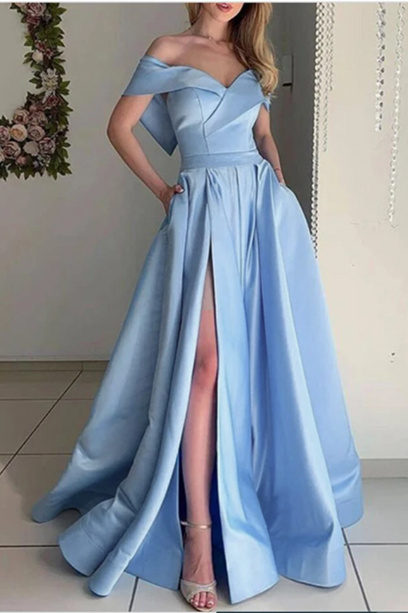 Promfast Stunning Sky Baby Blue off the Shoulder Pocket A Line Satin Prom Long Graduation Party Dress PFP2032