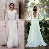 Sexy Ivory Lace 3/4 Long Sleeve Backless Summer Chiffon Plus Size Beach Wedding Dresses PFW0230
