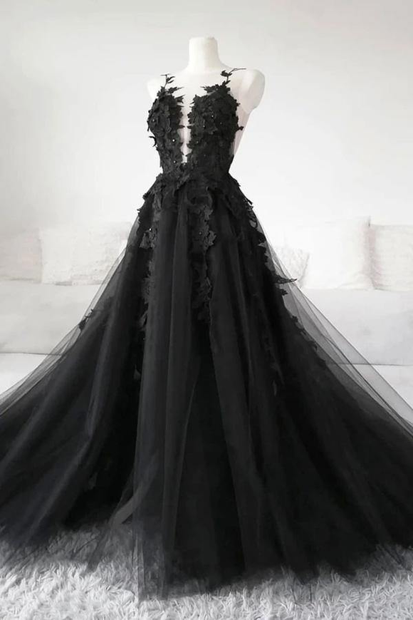 Promfast Black Lace Tulle Long Prom Gown Black Evening Dress PFP2038