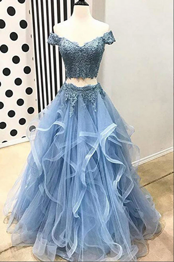 Promfast Blue Tulle Off Shoulder Two Piece Prom Dresses Lace Formal Dresses PFP2039