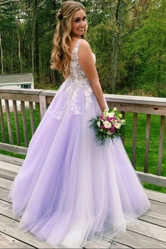 Promfast Lilac A line V neck Evening Dress, Long Prom Dresses With Appliques PFP2040