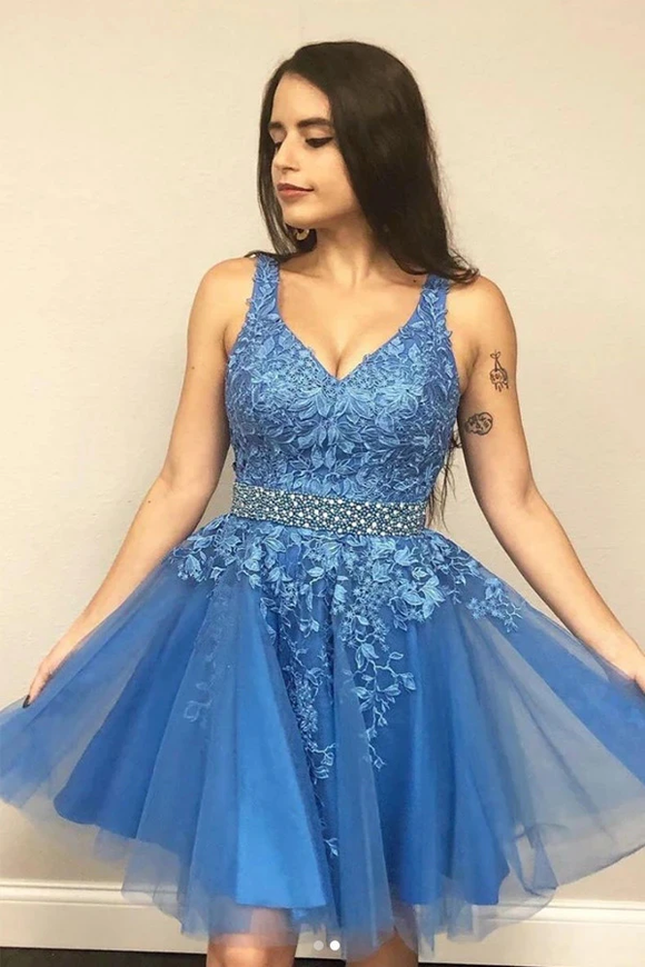 Promfast A line V neck Blue Short Prom Dress Homecoming Dress With Appliques PFH0327