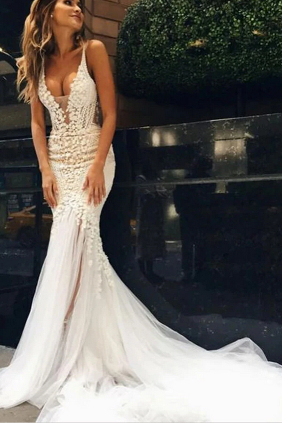 Promfast Luxurious Ivory Tulle Lace Mermaid Deep V Neck Wedding Dresses PFW0573