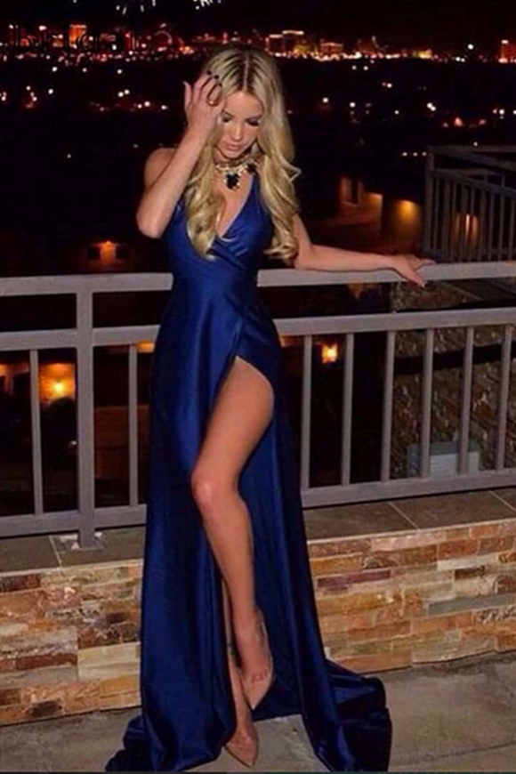 Promfast Simple Royal Blue Satin Deep V Neck Long Prom Dresses, Evening Dress PFP2045