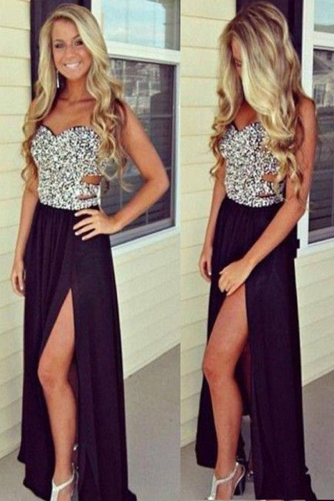 Silver Sleeveless Side Slit Black Evening Party Prom Dress PFP1480